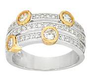 Diamonique Two-Tone Triple Row Band Ring, Sterling - J335713