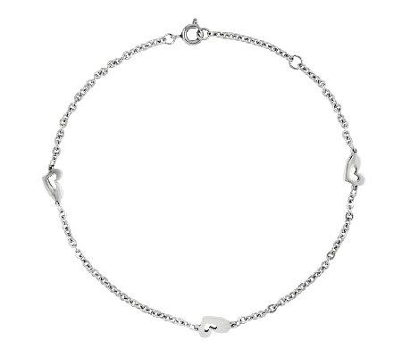 stainless steel polished station ankle bracelet