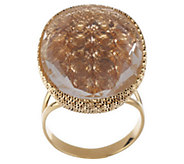 Arte dOro Oval Gemstone Ring w/ Crystal Overlay, 18K Gold - J336513