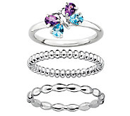 Simply Stacks Sterling 3-Ring Butterfly Set - J337413