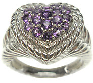 Judith Ripka Sterling Pave Gemstone Heart Ring - J338613