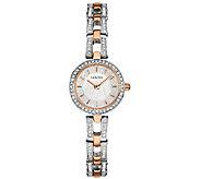 Bulova Womens Rosetone/Silvertone Crystal Bracelet Watch - J339013