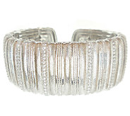 Judith Ripka Sterling Textured and White Diamon ique Wide Cuff - J339713