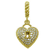 Judith Ripka Sterling 14K Clad 3/8 cttw Diamonique Heart Char - J339913