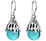 Kalos by Hagit Teal Glass & Sterling Silver Drop Earrings - J340713