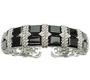 Judith Ripka Sterling Silver Black Onyx & Diamonique Cuff - J341213