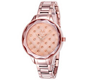 V19.69 Italia Womens Rosetone Quilted Dial Watch - J344513