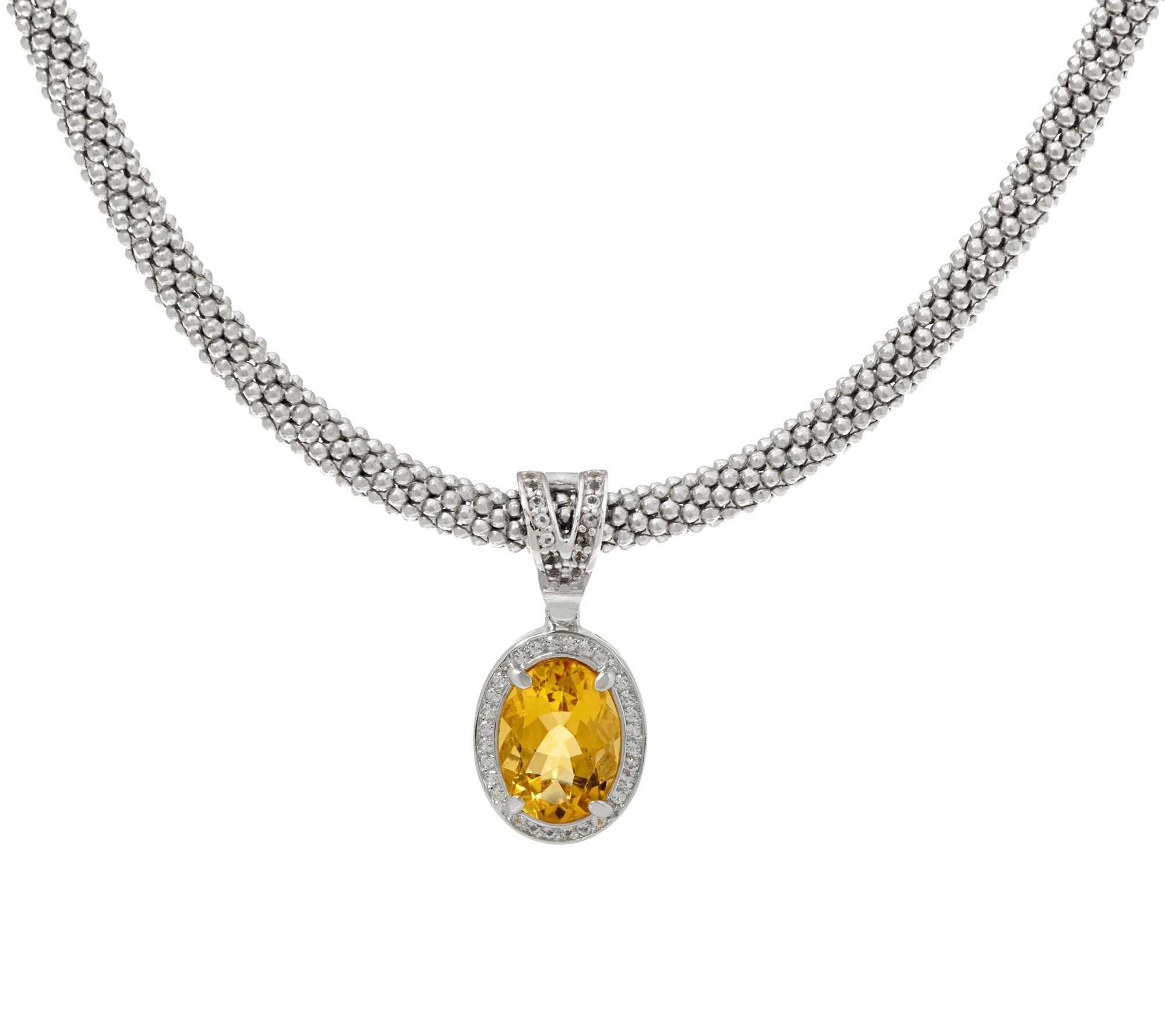 Italian silver ct citrine enhance w necklace for Italian kitchen silver spring