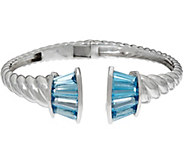 Baguette Gemstone Sterling Silver Hinged Cuff 6.50 cttw - J346913