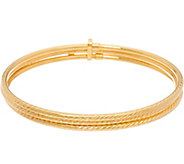 Vicenza Gold Set of 3 Large Diamond Cut Bangles 14K Gold, 5.1g - J347413