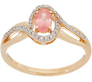 Rhodochrosite & Diamond Ring 14K Gold - J350413
