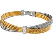 As Is ALOR Stainless Steel & Diamond Criss - Cross Two- Toned Bracelet - J355413