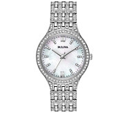 Bulova Womens Stainless Crystal Bracelet Watch - J375113
