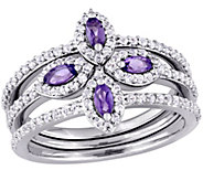 0.80 cttw Amethyst & White Topaz Clover Ring Set, Sterling - J375313