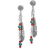 Sterling Silver Feather Dangle Earrings by American West - J375513