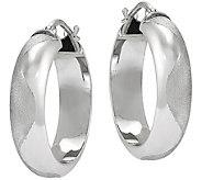 Sterling Satin & Polished Hoop Earrings by Silver Style - J375813