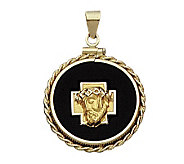 14K Yellow Gold Christ Head Charm on Black OnyxDisc - J108214