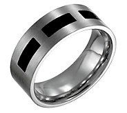 Forza Mens 8mm Steel with Black Accent FlatRing - J109514