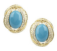 Melania Oval Cabochon & Crystal Button Earrings - J261414