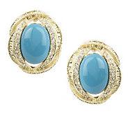 Melania Oval Cabochon & Crystal Button Earrings - J261414