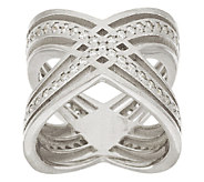 Vicenza Silver Sterling Polished Diamonique X Design Ring - J276414