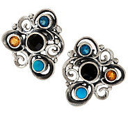 Carolyn Pollack Multi-gemstone Sterling Swirl Design Button Earrings - J279214