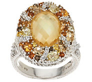 Judith Ripka Sterling Multi-Gemstone and Diamonique Cocktail Ring - J287914