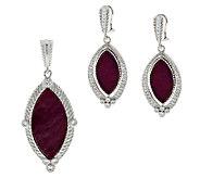 Judith Ripka Ruby Marquise and Diamonique Earrings or Enhancer - J288714