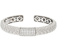 Judith Ripka Sterling Pave Diamonique Textured Cuff - J296614