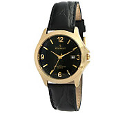 Peugeot Mens Goldtone Black Leather Strap Watch - J298014