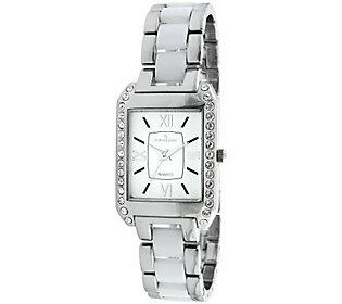 Peugeot Women's Rectangular White Dial Acryliclink Watch