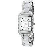 Peugeot Womens Rectangular White Dial AcrylicLink Watch - J307214