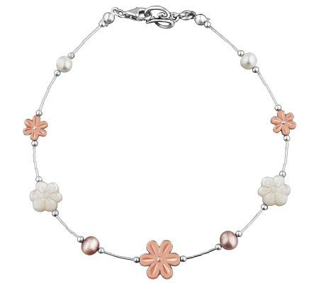 Carolyn pollack sterling blushing joy anklet page 1 for Carolyn pollack jewelry qvc