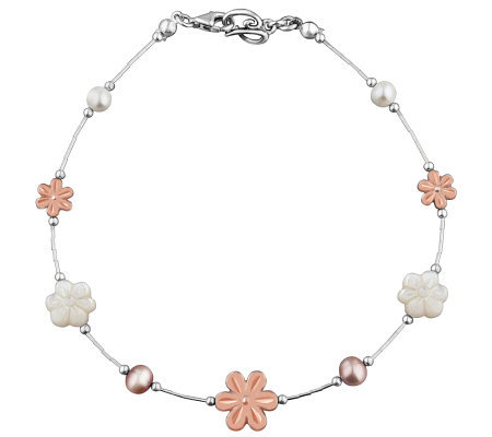 Carolyn pollack sterling blushing joy anklet for Carolyn pollack jewelry qvc