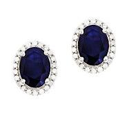 Sterling Sapphire 1/5 ct tw Diamond Halo Stud Earrings - J314114