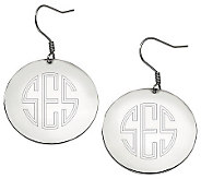 Stainless Steel Polished Engravable Disc Dangle Earrings - J314514