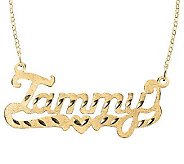 24K Yellow Gold-Plated Sterling Diamond-Cut Name Necklace - J315214