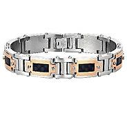 Mens Stainless Steel & Rosetone Bracelet w/ Carbon Fiber - J316814