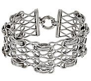 VicenzaSilver Sterling 7-1/4 Woven Status Link Bracelet, 19.7g - J317714