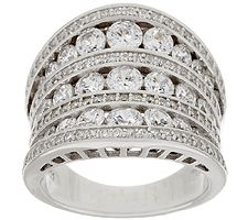 Diamonique 4.35 cttw Concave Band Ring, Sterling