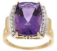 Premier 5.00ct Amethyst & 1/7 ct tw Diamond Ring 14K Gold - J319914