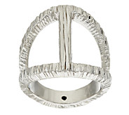 Vicenza Silver Sterling Elongated Diamond Cut Status Ring - J320114