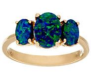 Australian Opal Doublet 3-Stone Design Ring 14K Gold - J324514