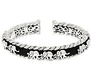 JAI Sterling Elephants in a Row Hinged Cuff Bracelet - J326014