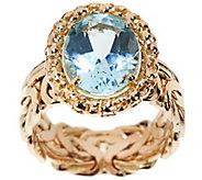 As Is 14K Gold Blue Topaz Byzantine Design Ring - J326714