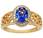 Oval Tanzanite & Diamond Filigree Design Ring, 14K Gold 1.10 ct - J328314