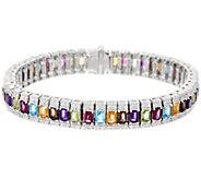 Judith Ripka Sterling Silver 11.10 cttw Gemstone Large Tennis Bracelet - J329114
