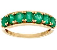Multi-Cut Brazilian Emerald Band Ring, 14K Gold 1.40 cttw - J329414