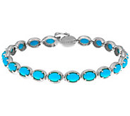 Sleeping Beauty Turquoise Sterling Silver 7-1/4 Tennis Bracelet - J334314