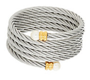 As Is Stainless Steel Cable Bracelet w/ Simulated Endcaps - J334514